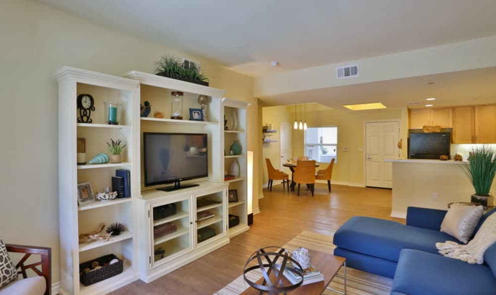 Well-decorated living area with hardwood floors in a model home at IMT Park Encino in Encino, California