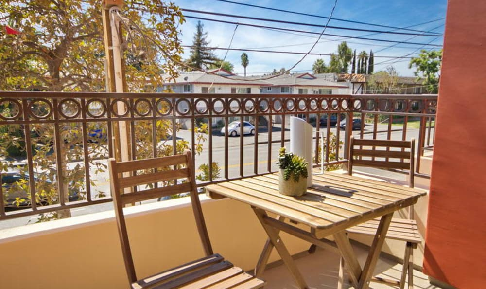 Private balcony outside model apartment home at IMT Townhomes at Magnolia Woods in Sherman Oaks, CA