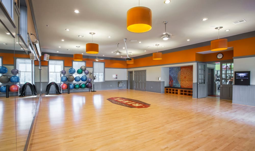One of the yoga studios onsite at Riata in Austin, TX