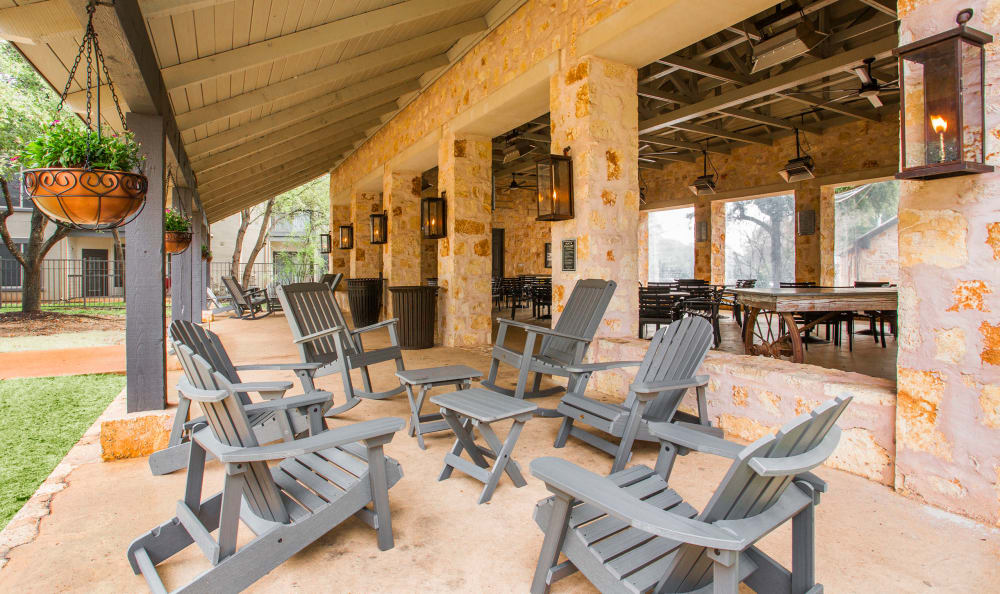 Plenty of seating at the outdoor pavilion at Riata in Austin, TX