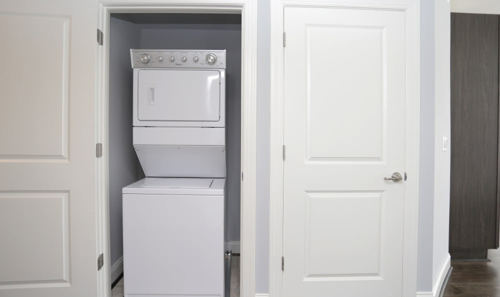 In-unit washer and dryer in model home at Aqua on 25th in Virginia Beach, VA