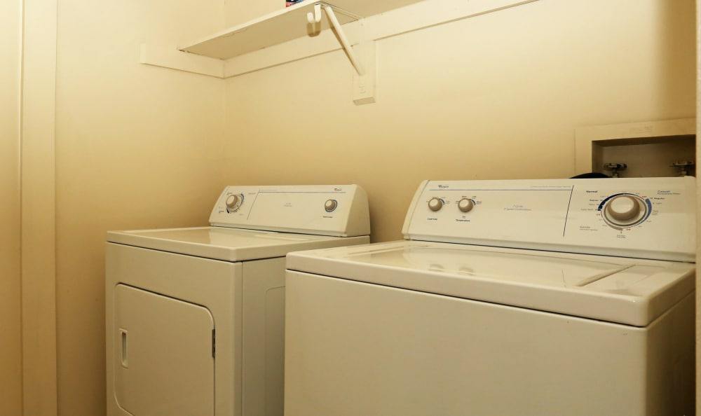 In-unit washer and dryer in model home at Woodbriar Apartments in Chesapeake, Virginia