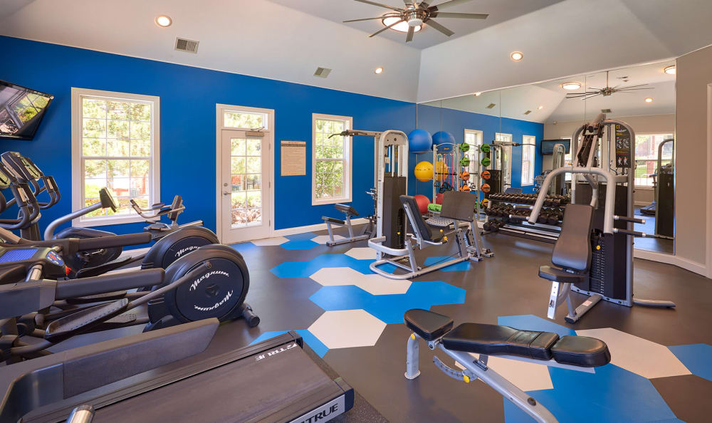 Fitness center at Skyecrest Apartments in Lakewood, CO
