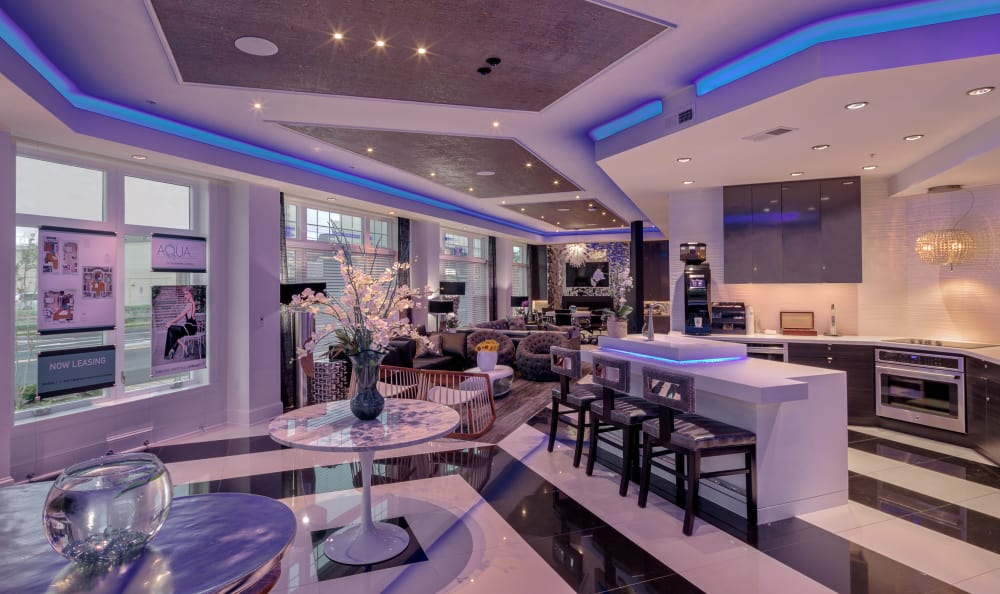 Modern clubhouse with plenty of resident amenities at Aqua on 25th in Virginia Beach, VA