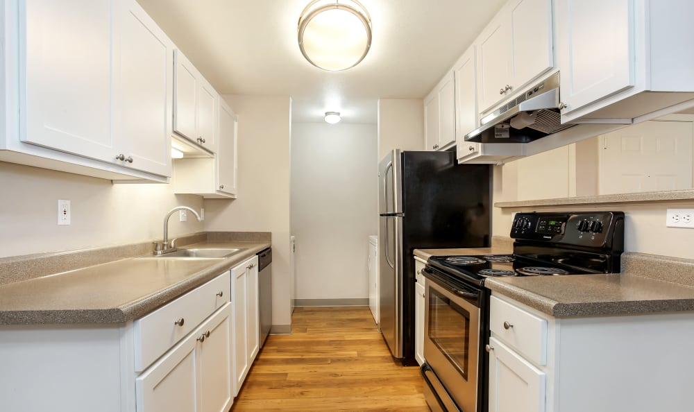 Kitchen galley at apartments in Tigard, Oregon