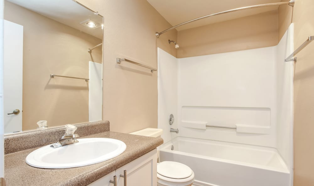 Bathroom and shower at Maybeck at the Bend in Tigard, Oregon