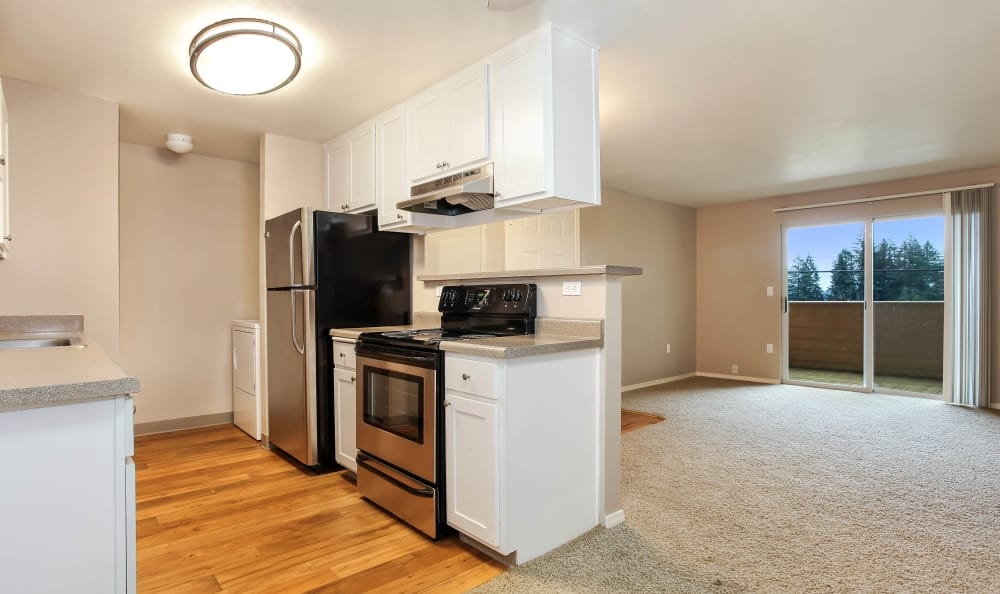 Stainless-steel appliances at apartments in Tigard, Oregon