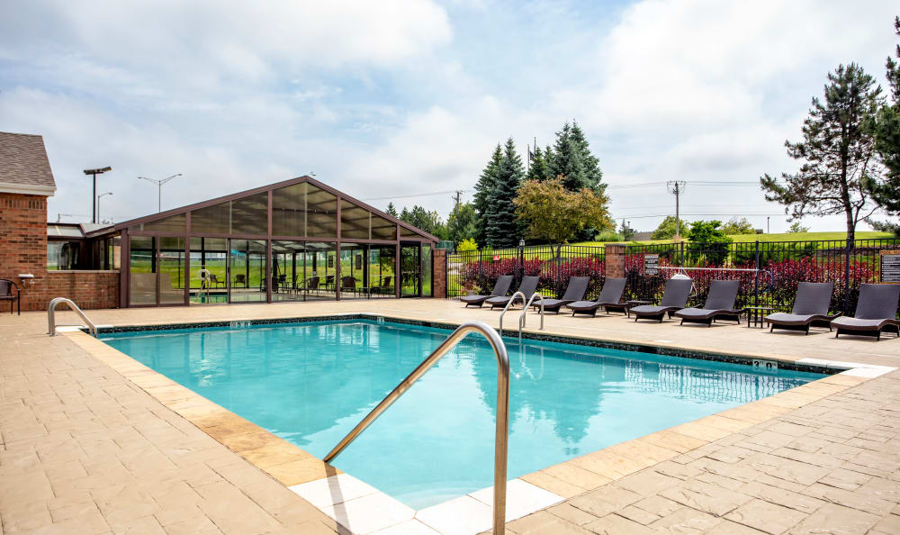 Spacious swimming pool at The Preserve at Osprey Lake in Gurnee, Illinois