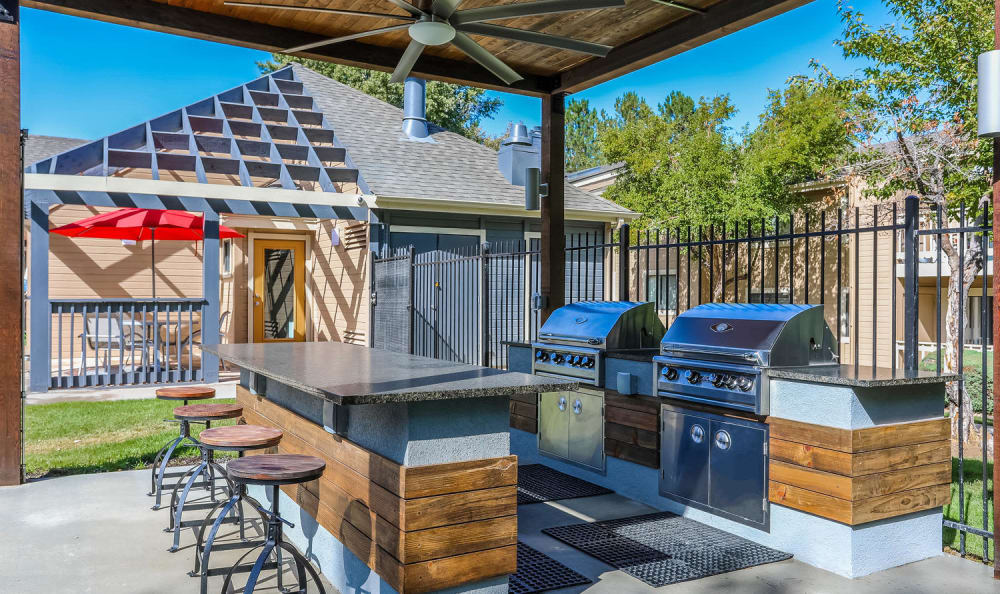 Newly renovated BBQ lounge  at City Center Station Apartments in Aurora, Colorado