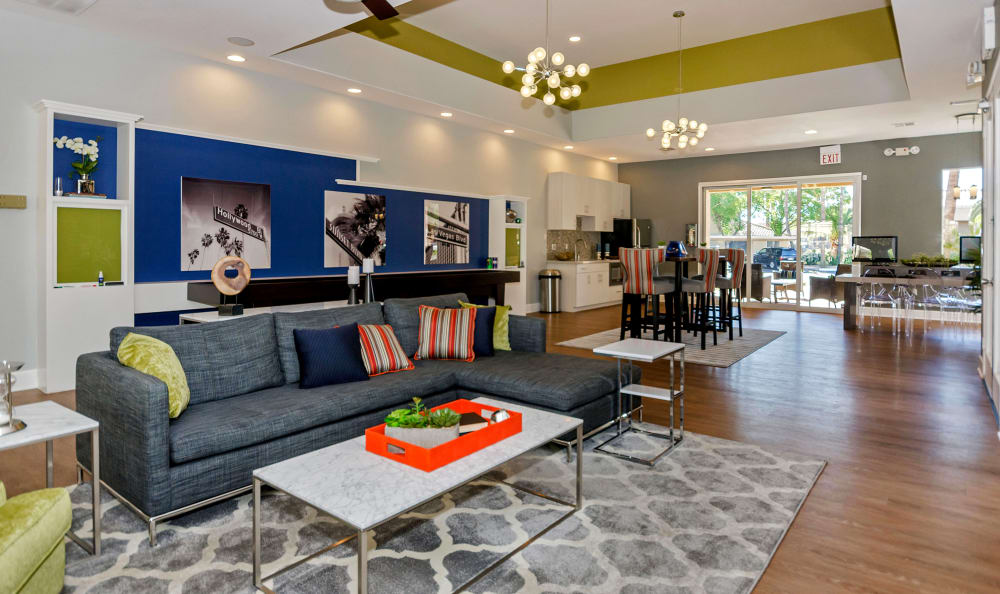 Comfortable seating and modern furnishings in the clubhouse at The Boulevard in Phoenix, Arizona
