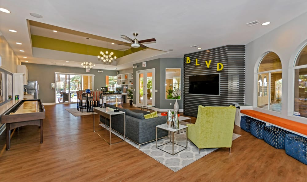 Spacious clubhouse at The Boulevard in Phoenix, Arizona