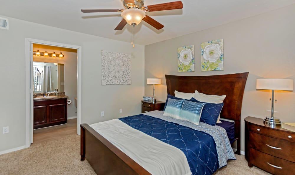 Spacious master bedroom in model home at The Boulevard in Phoenix, Arizona