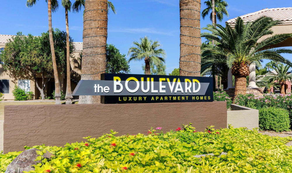 Our sign welcoming residents and their guests at The Boulevard in Phoenix, Arizona