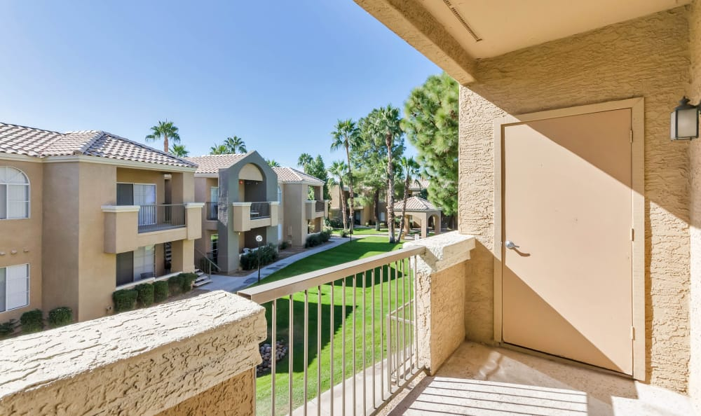 View of the property from private balcony of apartment home at The Boulevard in Phoenix, Arizona