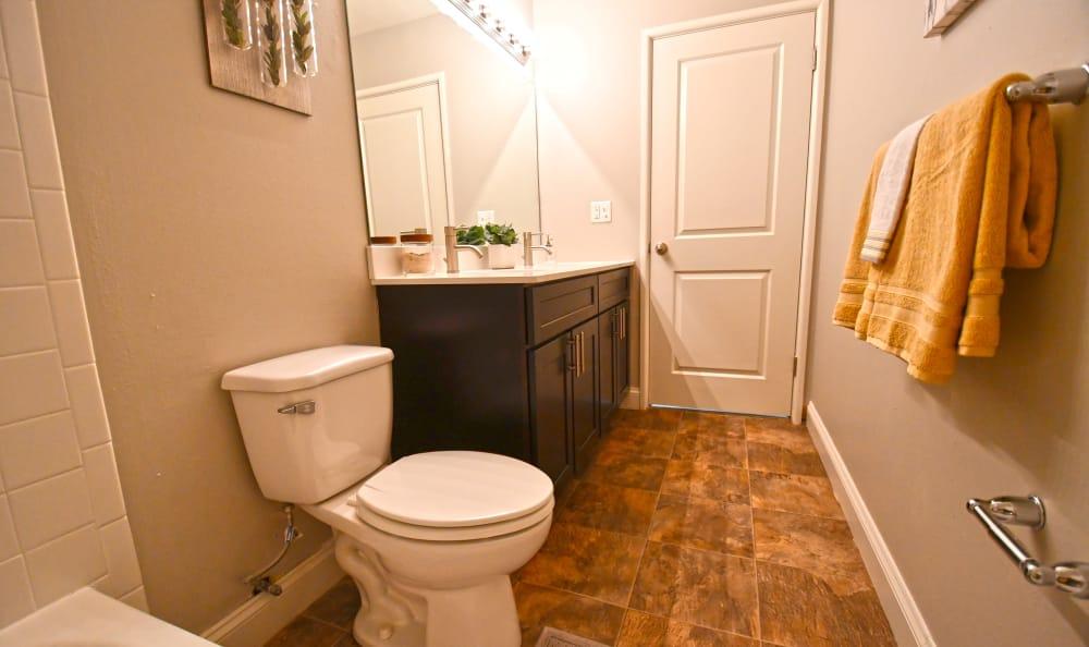 A bathroom at Spice Tree Apartments in Ann Arbor, MI