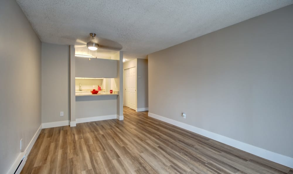 Open-concept floor plan at The Boulevard at South Station Apartment Homes in Tukwila, Washington