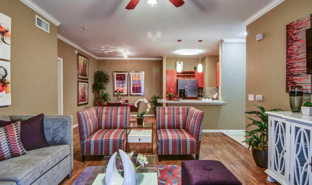 Well-decorated open-concept living area with hardwood floors and ceiling fan in model home at San Paloma Apartments in Houston, Texas