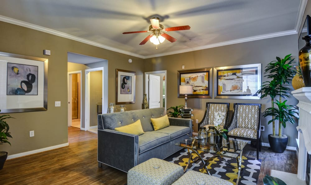 Spacious and lavishly decorated open-concept floor plan in model home at San Paloma Apartments in Houston, Texas