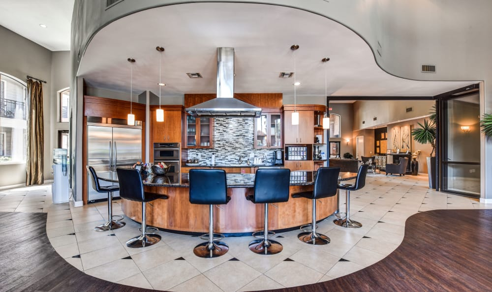 Incredibly lavish resident clubhouse bar at San Paloma Apartments in Houston, Texas