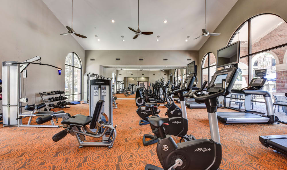 Huge fitness center with all the equipment you need to get and stay fit at San Paloma Apartments in Houston, Texas