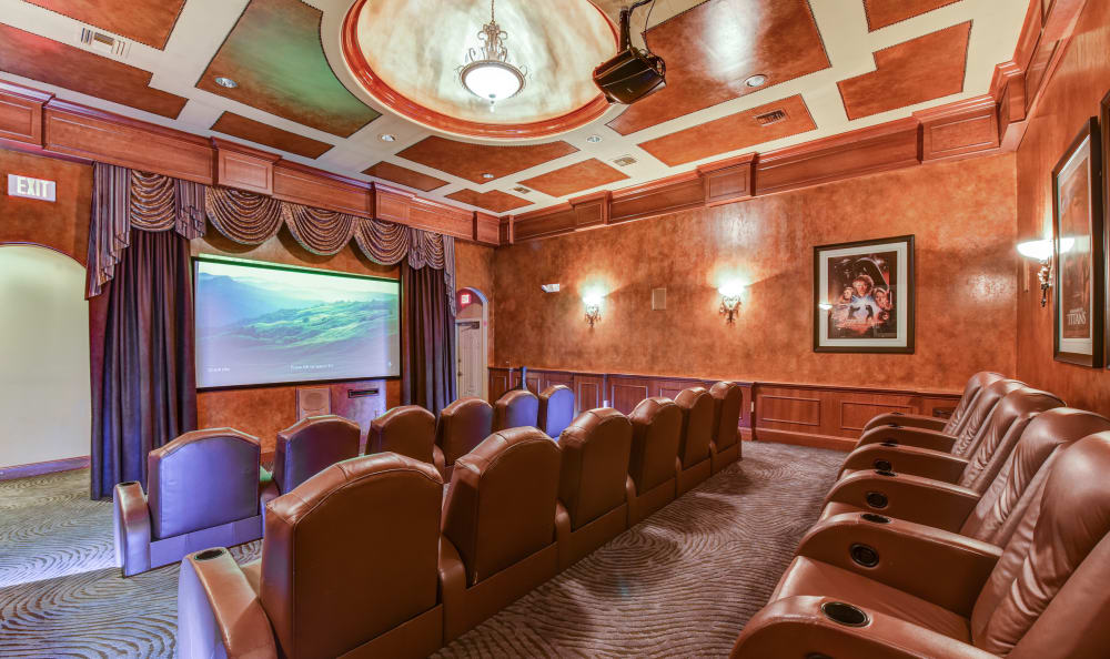 Onsite movie theater at San Paloma Apartments in Houston, Texas