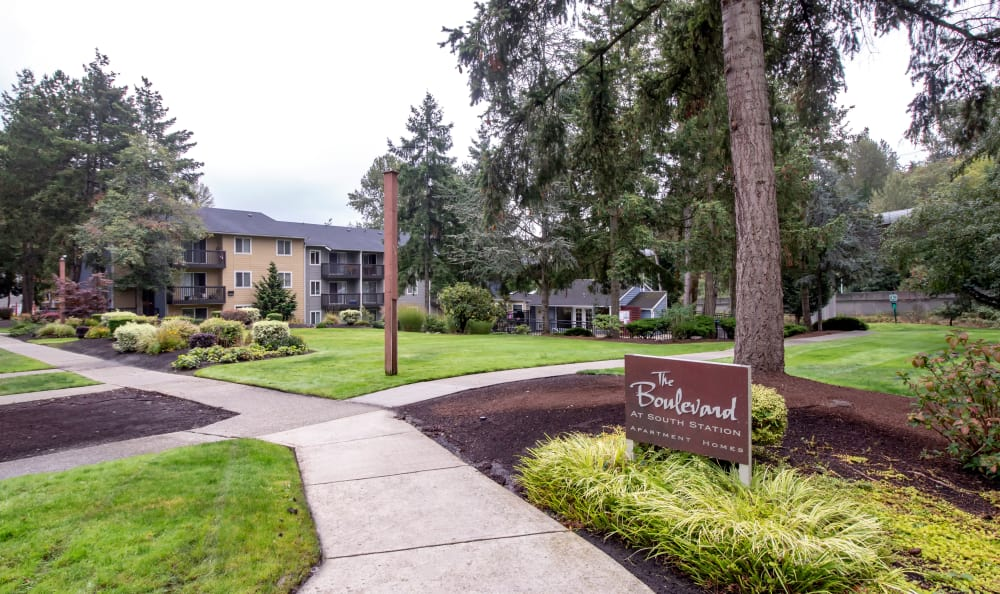 Mature trees and winding pathways at The Boulevard at South Station Apartment Homes in Tukwila, WA