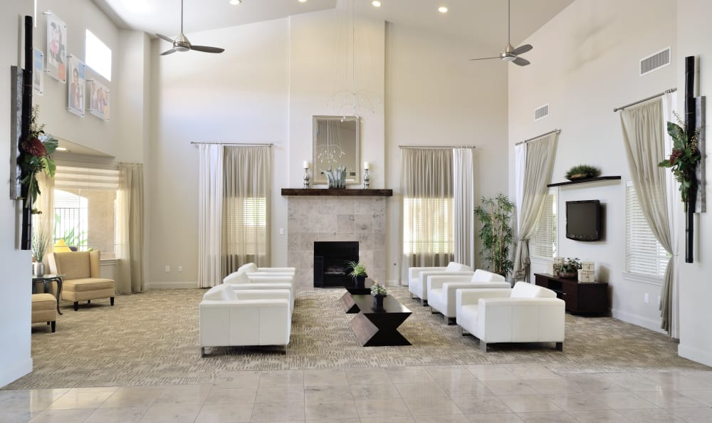 Interior of the lavishly decorated resident clubhouse at Lumiere Chandler in Chandler, Arizona