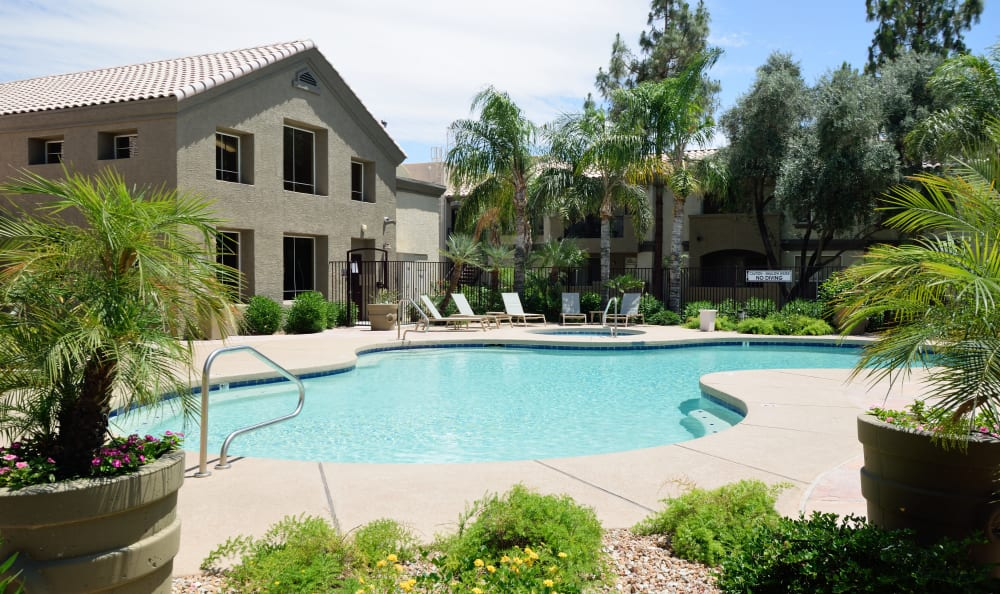 Swimming pool on a beautiful day at Lumiere Chandler in Chandler, Arizona