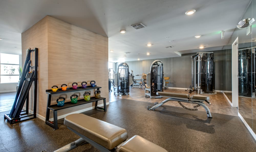 Free weights and more in the fitness center at IMT Sherman Circle in Van Nuys, California
