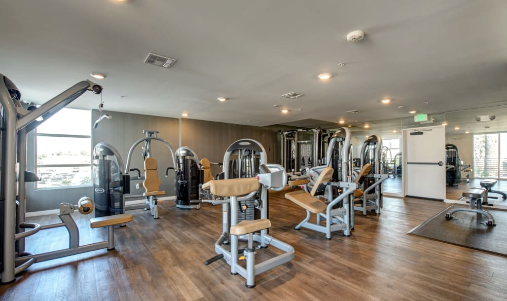 Exercise machines in the fitness center at IMT Sherman Circle in Van Nuys, California