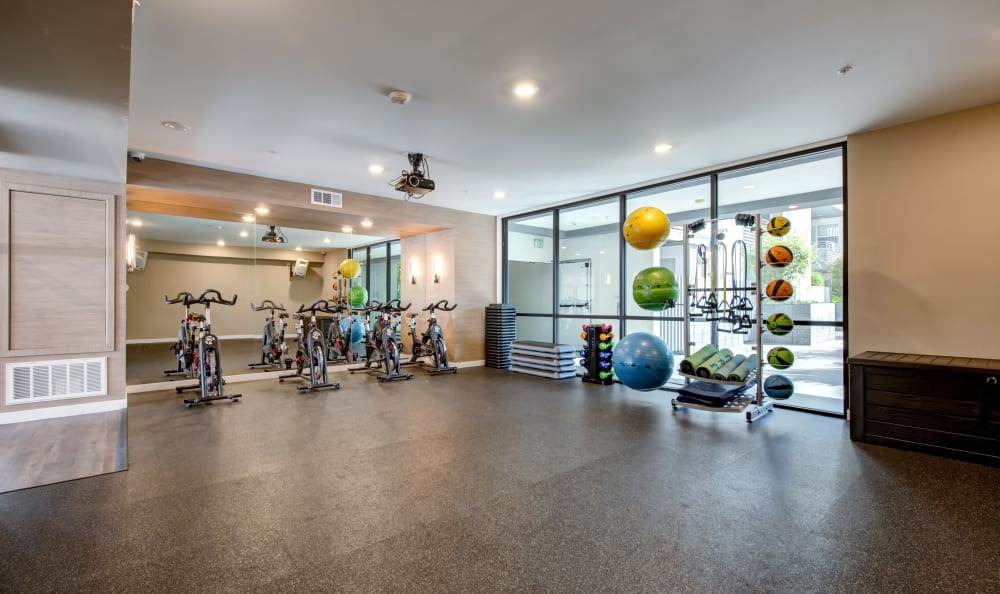 Well-equipped fitness center at IMT Sherman Circle in Van Nuys, California