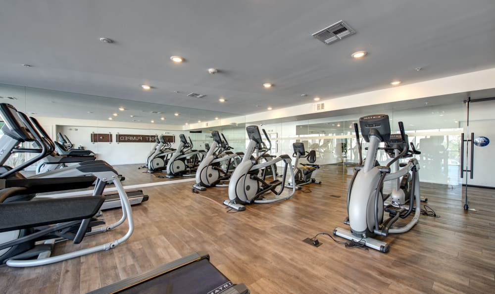 Treadmills and exercise bikes in the fitness center at IMT Sherman Circle in Van Nuys, California