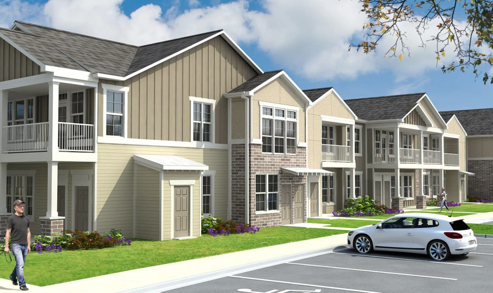 Rendering of the apartment buildings at the Springs at La Grange in Louisville, Kentucky.