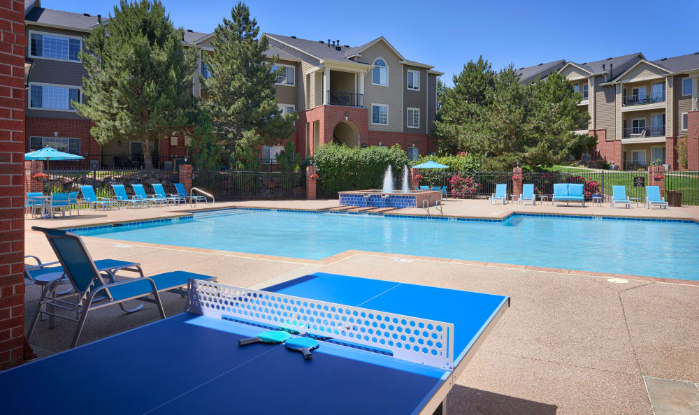 Poolside ping pong table at Skyecrest Apartments in Lakewood, CO
