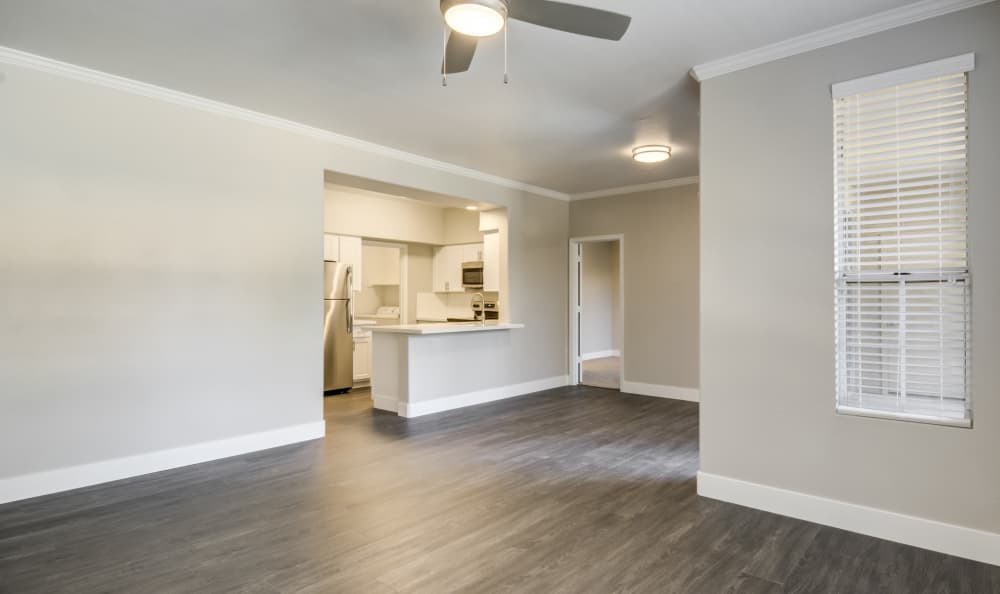 Ceiling fan and hardwood floors in living space of model home at Lumiere Chandler in Chandler, Arizona