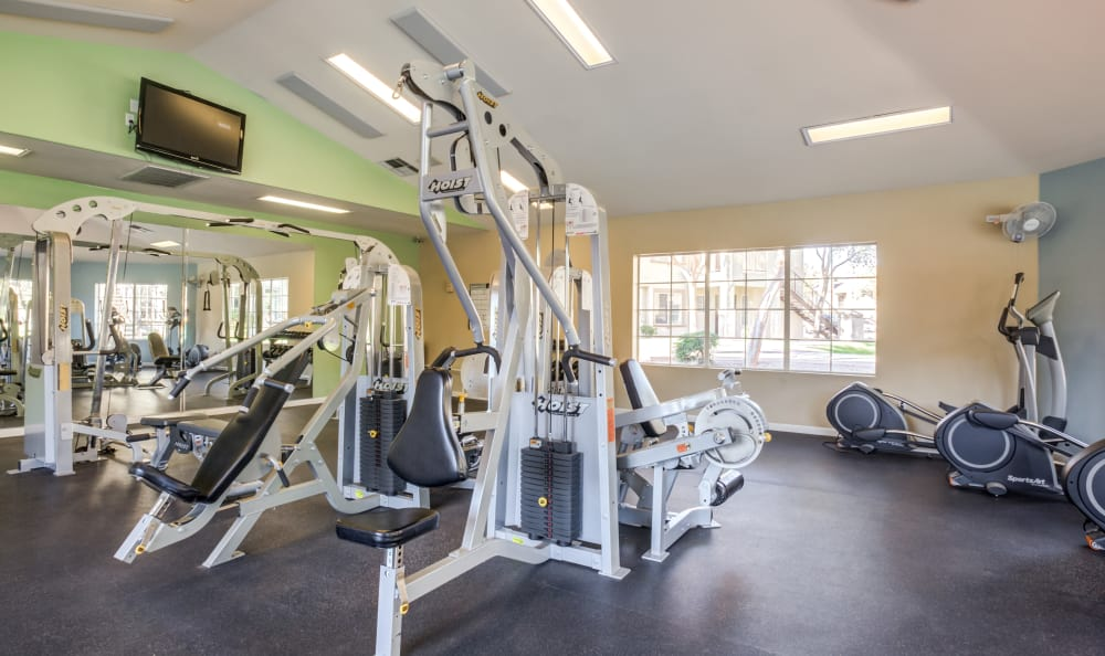 Well-equipped fitness center at Finisterra in Tempe, Arizona