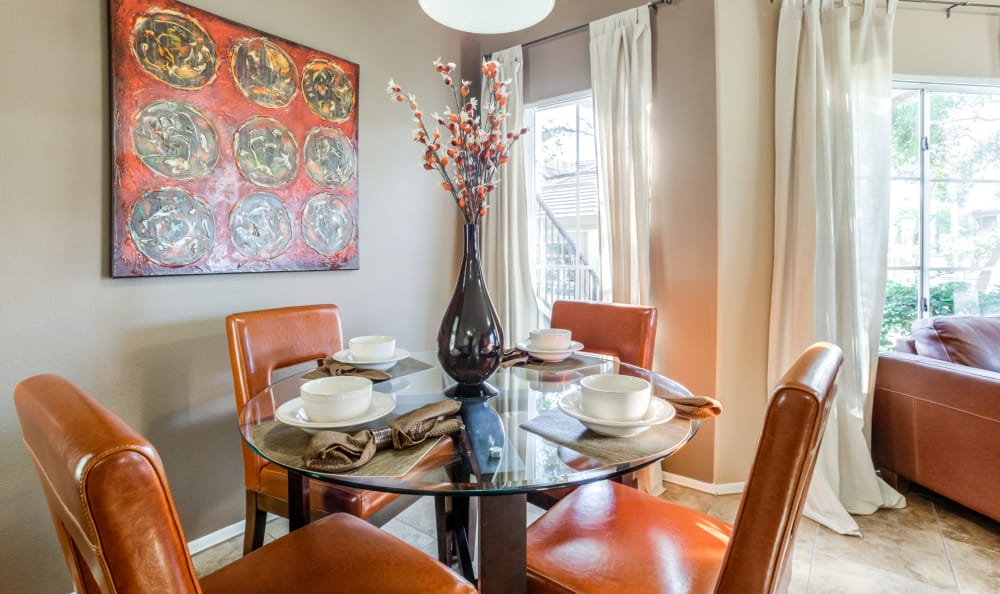 Well-appointed dining area in a model home at Finisterra in Tempe, Arizona