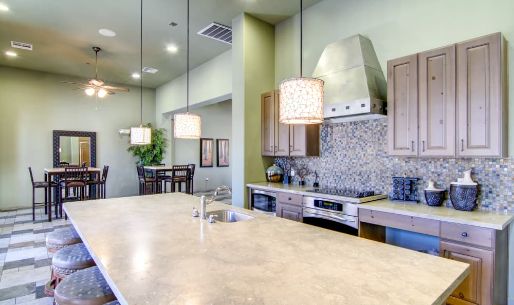 Demonstration kitchen in resident clubhouse at The Residences at Stadium Village in Surprise, Arizona