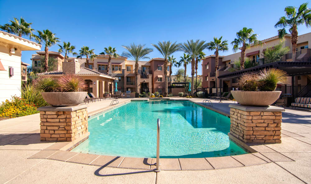 Gorgeous swimming pool area at The Residences at Stadium Village in Surprise, Arizona