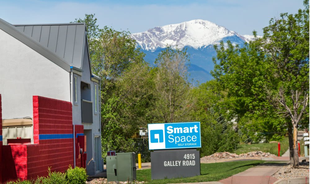 Welcome sign at Smart Space Self Storage - Colorado Springs in Colorado Springs, Colorado