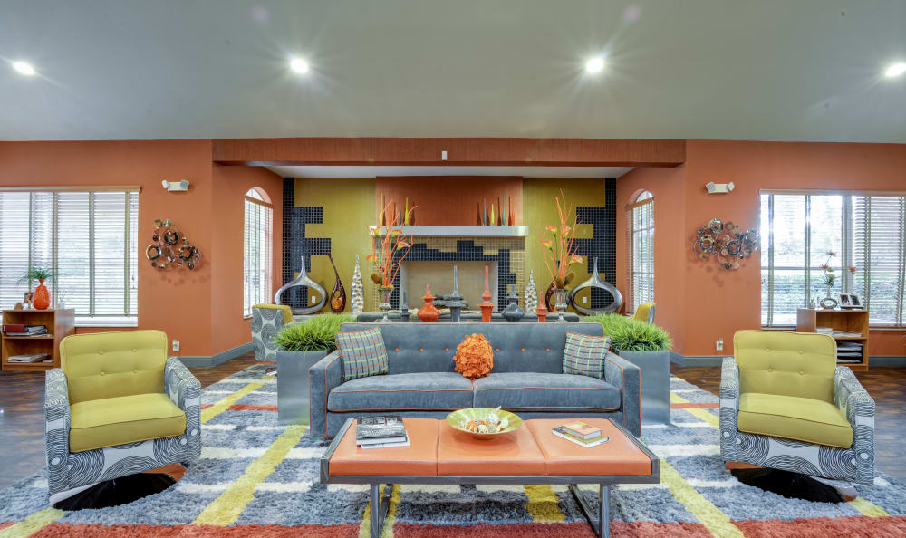 Modern and bright decor in the resident clubhouse at IMT Pinebrook Pointe in Margate, Florida