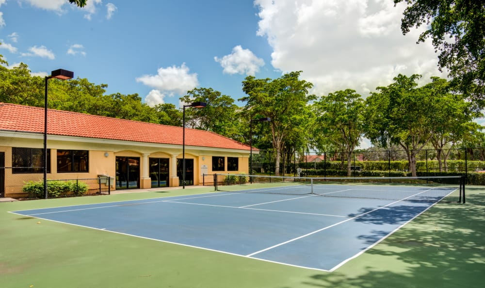 Onsite tennis court at IMT Pinebrook Pointe in Margate, Florida