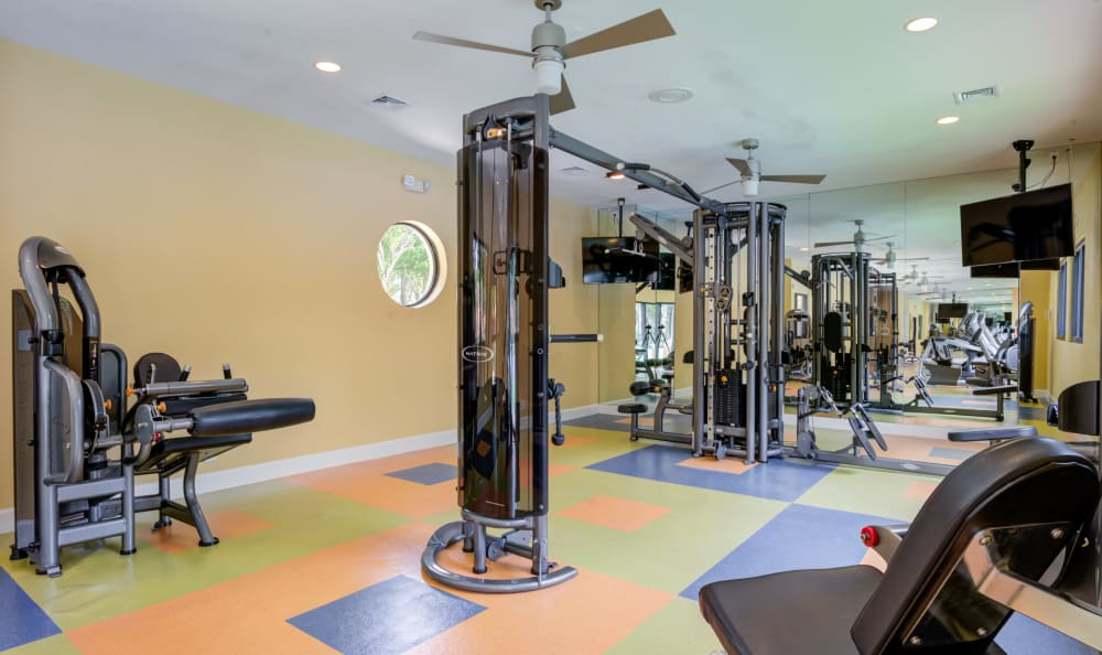 Well-equipped fitness center at IMT Pinebrook Pointe in Margate, Florida