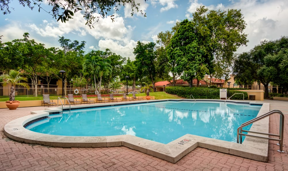 Resort-style swimming pool area at IMT Pinebrook Pointe in Margate, Florida