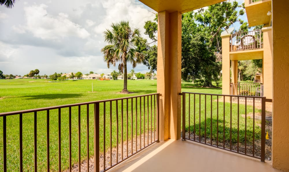 Private patio outside model home at IMT Pinebrook Pointe in Margate, Florida