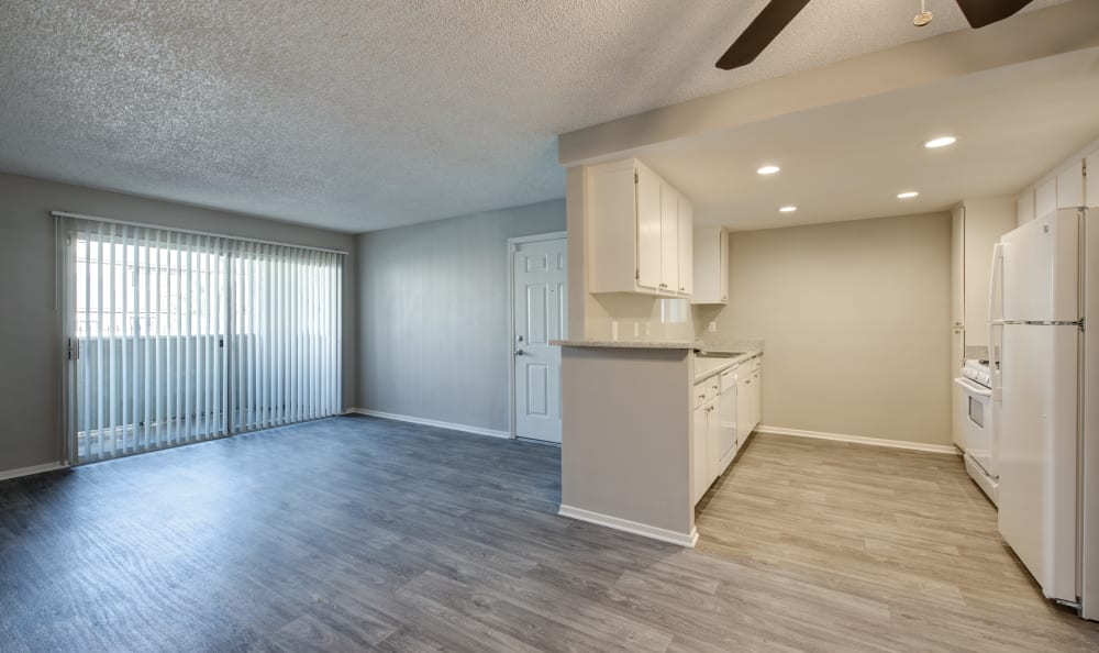 Living Room & Kitchen at Cordova Park Apartment Homes in Lancaster, CA