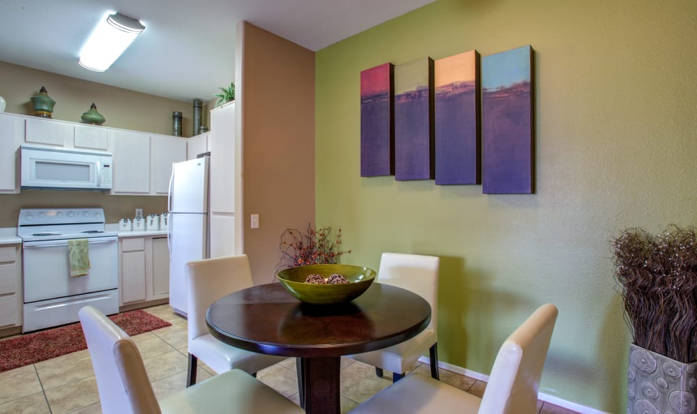 Accent wall in the dining area of a model apartment home at Sierra Canyon in Glendale, Arizona