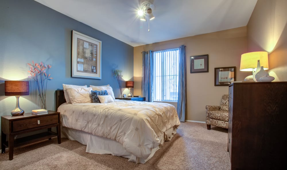 Accent wall and plush carpeting in the master bedroom of a model home at Sierra Canyon in Glendale, Arizona