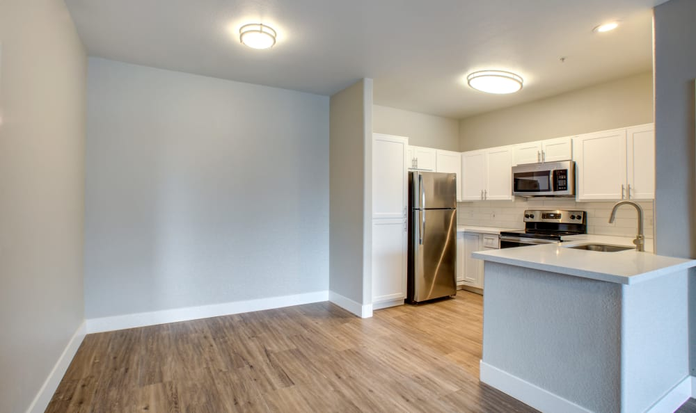 Beautiful hardwood floors in a recently renovated apartment home at Sierra Canyon in Glendale, Arizona