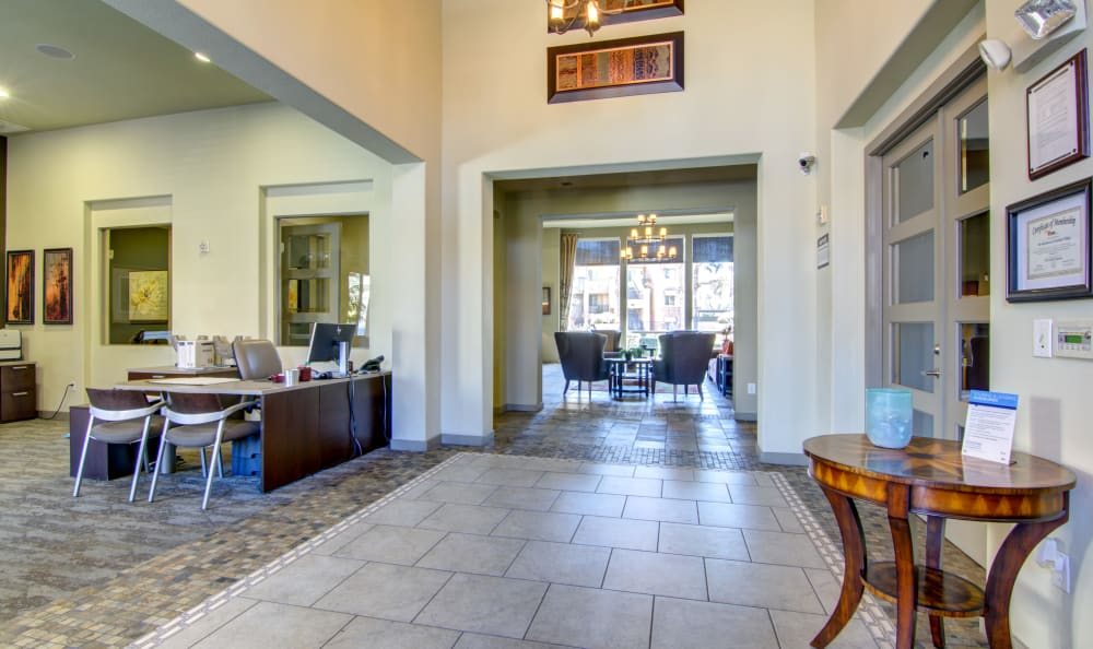 Well-appointed leasing center interior at The Residences at Stadium Village in Surprise, Arizona